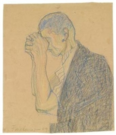 Artwork by Anton Faistauer, Study of Man Praying, Made of colour crayon on paper