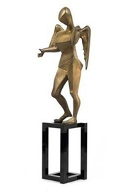 Artwork by Salvador Dalí, Cubist Angel, Made of bronze black lacquered on metal base