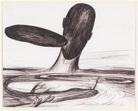 Artwork by Enzo Cucchi, Untitled, Made of ballpoint pen on thin card