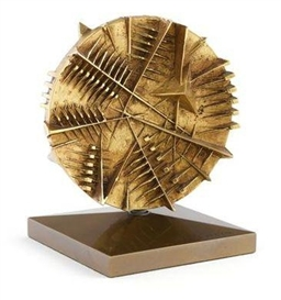 Artwork by Arnaldo Pomodoro, Disco, Made of bronze with golden patina