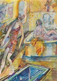 Artwork by Heinz Stangl, Bathroom, Made of mixed media on paper