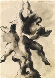 Artwork by Jacques Lipchitz, Composition with 2 figures, Made of Indian ink, gouache on paper