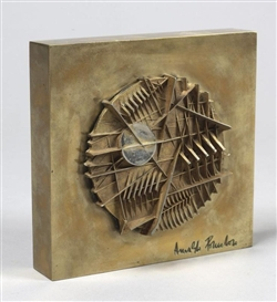 Artwork by Arnaldo Pomodoro, UNTITLED, Made of patinated and gilt bronze