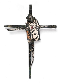 Artwork by Robert Combas, CRUCIFIX, Made of Tube paint brush