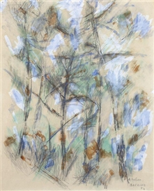 Artwork by Jean René Bazaine, LANDSCAPE MERSCHERS, Made of Watercolor and pencil on paper