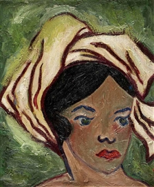 Artwork by Grace Henry, GIRL WITH YELLOW SCARF, Made of Oil on Canvas