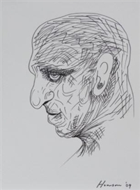 Artwork by Peter Howson, 7 Works ; Portrait and figure studies, Made of black felt-tipped pen