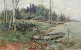 Artwork by Isaac Levitan, Moored boat on a lakeshore with woodland, Made of oil on canvas