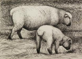 Henry Moore, 2 Works : Two Fat Lambs ; Sheep in a Field