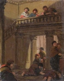 Artwork by Benjamin West, Group figure sketches in classical architectural settings, Made of oil on paper laid down on card