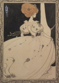 Artwork by Aubrey Beardsley, Elegant figure by a curtain, Made of pen, black ink and wash with touches of watercolour and white