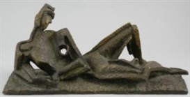 Artwork by Ossip Zadkine, Femme allongée, Made of bronze with greenish patina
