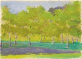 Artwork by Wolf Kahn, Tree Harmony, Made of pastel on paper