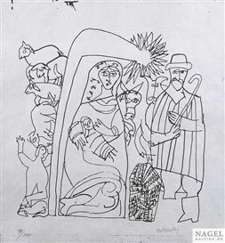 Artwork by Hap Grieshaber, Schwäbisches Krippenbild, Made of Woodcut