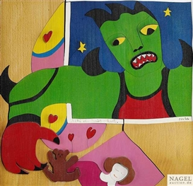 Artwork by Niki de Saint Phalle, The monster, Made of Wood puzzle with colour