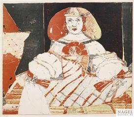 Artwork by Peter Sengl, Harlekin mit Mütze ; Hessischer Puppentanz ; Harlekin ; Infantin ; Drezentänzer, Made of Lithograph