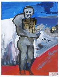 Artwork by Lambert Maria Wintersberger, Standing man, Made of Tempera and collage on paper