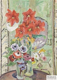 Artwork by Maria Caspar-Filser, Blumenstilleben - Amaryllis, Anemonen und Fresien vor Kelim, Made of Oil on canvas