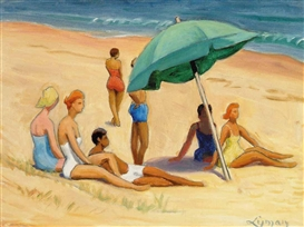 Artwork by John Goodwin Lyman, Group on Provincetown Beach, Made of oil on canvas board