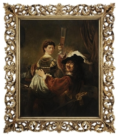 Artwork by Rembrandt, Rembrandt and Saskia in the Parable of the Prodigal Son, Made of oil on canvas