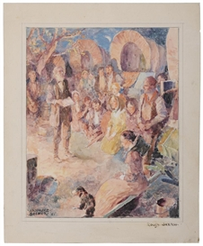 Artwork by Arthur E. Becher, Settler Devotion, Made of watercolor on illustration board