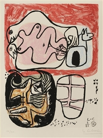 Artwork by Le Corbusier, Unite, Made of aquatint on colors on Rives paper
