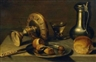 Pieter Claesz, Still Life with Tin Crockery and a Peeled Lemon