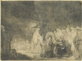 Artwork by Rembrandt van Rijn, The Presentation in the Temple, Made of etching