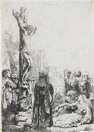 Artwork by Rembrandt, The Crucifixion, Made of etching