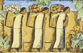 Artwork by Alfredo Ramos Martínez, Las Floreras (The Flower Vendors), Made of screenprint in colors on laid paper