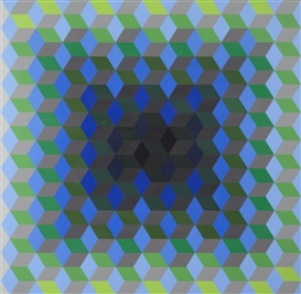 Artwork by Victor Vasarely, Homage to the Hexagon, Made of screenprints in colors on wove paper