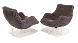 Artwork by Vladimir Kagan, 2 Works: Cosmos Lounge Chairs, Made of Plexiglas with velour upholstery