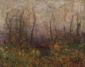 Artwork by László Mednyánszky, Woodland scene, Made of oil on canvas