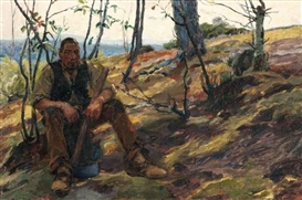Artwork by José Malhoa, The resting woodcutter, Made of oil on canvas