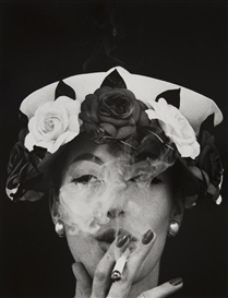 Artwork by William Klein, Hat + 5 Roses, Paris (Vogue), circa 1956, Made of Gelatin silver print