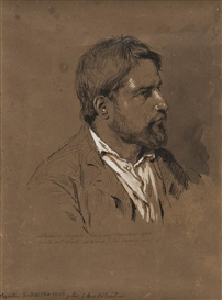 Artwork by Giovanni Segantini, Self Portrait, Made of Pencil and biacca on brown card