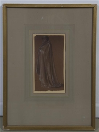 Artwork by James McNeill Whistler, Portrait of a Man in a Cape, Made of pastel and chalk on paper