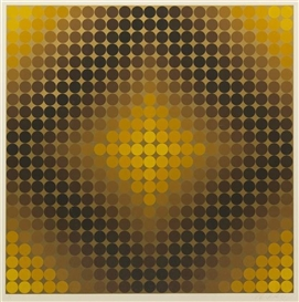 Artwork by Victor Vasarely, Gold, Made of screenprint