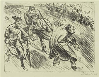 3 works: Men with Dead Body; Woman in Conversation; Men Carrying Wounded Man By Ernst Barlach