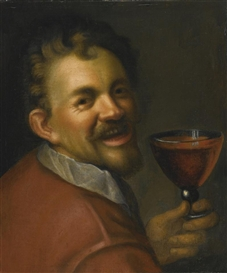 Artwork by Hans von Aachen, SELF-PORTRAIT WITH A GLASS OF WINE, Made of oil on canvas