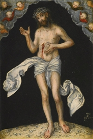 Artwork by Lucas Cranach the Elder, CHRIST AS MAN OF SORROWS, Made of oil on panel