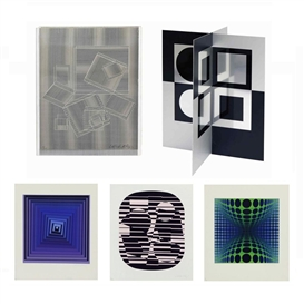 Artwork by Victor Vasarely, RENE DESCARTES, LE DISCOURS DE LA METHODE, EDITIONS ESSELIER (PORTFOLIO OF 24 WITH TITLE JUSTIF. & TEXT BY RENE DESCARTES), Made of lithograph/screenprint/collage/metal/plexiglass