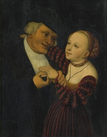 Artwork by Lucas Cranach the Elder, THE ILL-MATCHED LOVERS, Made of oil on panel