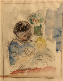 Artwork by Henri Lebasque, Maternité, Made of Watercolor, charcoal and pencil on paper