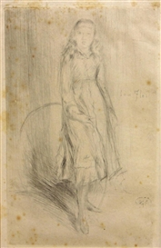 Artwork by James McNeill Whistler, Florence Leyland, Made of Drypoint on tissue-thin paper