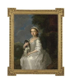 William Hogarth, Portrait of a young girl, half-length, seated, in a white dress, a King Charles spaniel on her lap, in an ornamental park, with a hill-top castle beyond