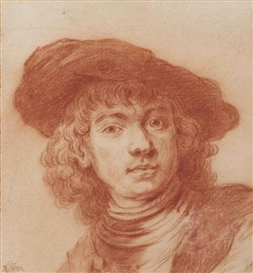 Artwork by Rembrandt van Rijn, Self-portrait, after Rembrandt, Made of red chalk