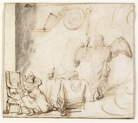 Artwork by Rembrandt, Angel Appearing to Gideon, Made of Pen and brown and gray ink and wash on cream laid paper