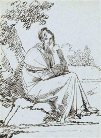 Artwork by Benjamin West, Lady with a Book Seated Beneath a Tree, Made of Pen and brownish-black ink on blue laid paper