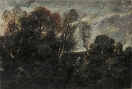 Artwork by László Paál, Figure in a Landscape, Made of Oil on canvas